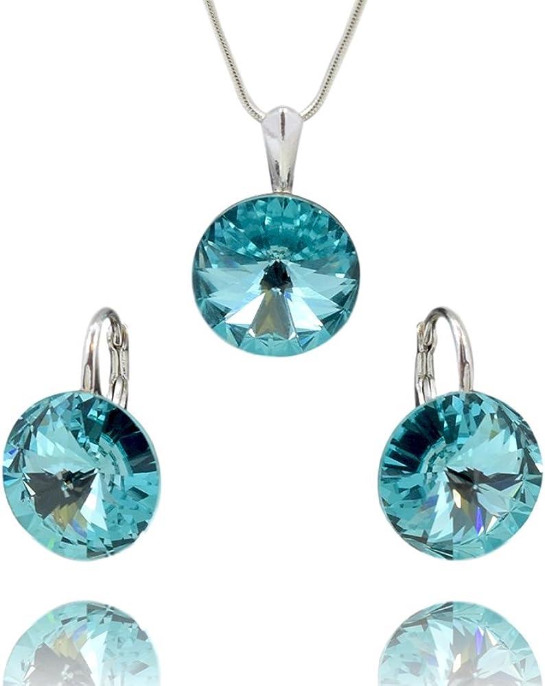 Crystals & Stones Rivoli Juego de pendientes y colgante, turquesa, con cadena de plata de ley 925, Swarovski® Elements originales, funda