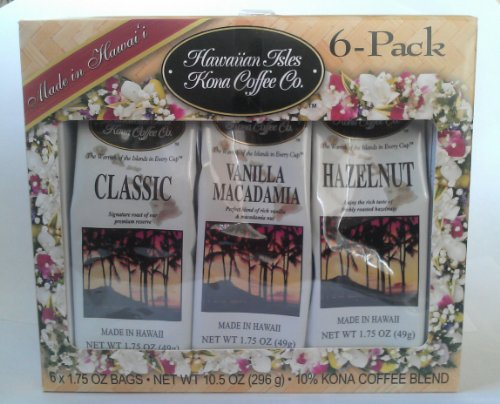 Hawaiian Isles Kona Coffee Co. 6-pack Gift Set