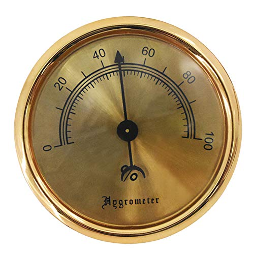 Cigar Hygrometer - Metal High Precision Round Analog Hygrometer with 3M Double Sided Tape - Size (2.95 * 2.95 * 0.6in) Gold ()