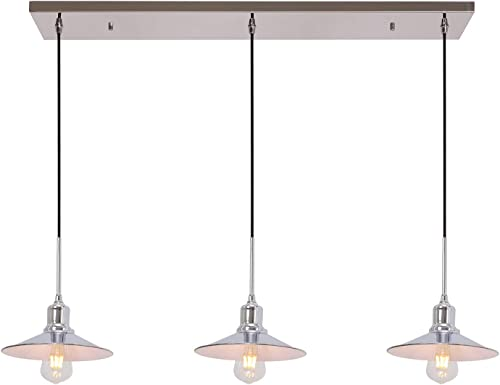 TODOLUZ Industrial Pendant Light with Chrome Finish 3-Light Modern Farmhouse Ceiling Lighting Fixture for Kitchen Island Dining Room