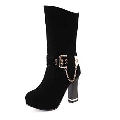 Women's Solid High-Heels Round Closed Toe Imitated Suede Pull-on Boots