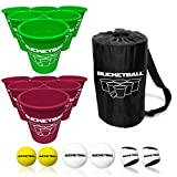 BucketBall - Team Color Edition - Combo Pack (Green/Maroon): Original Yard Pong Game: Best Camping, Beach, Lawn, Outdoor, Family, Adult, Tailgate Game