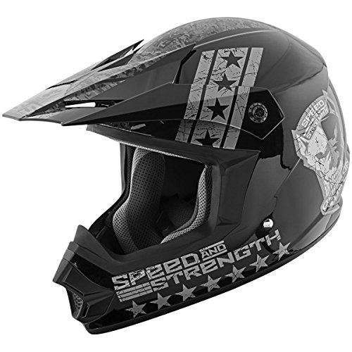 Speed and Strength Dogs of War Full Face SS2400 Motorcycle Helmet (Black/Charcoal, X-Small)