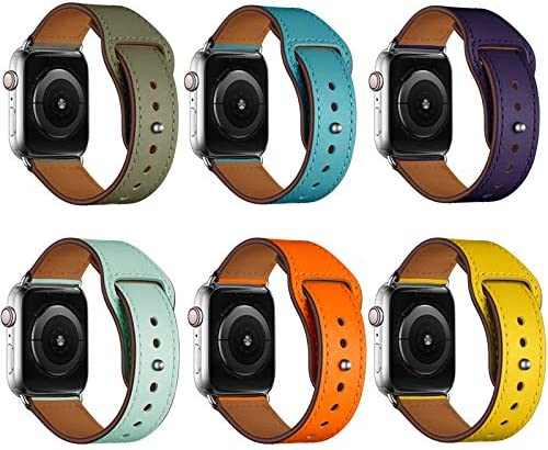 RTYW 本革バンドストラップ42ミリメートル44ミリメートル、腕時計アクセサリーレザーストラップブレスレット (Band Color : Purple, Band Width : 38mm or 40mm)