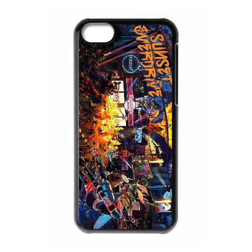 Sunset Overdrive 10 coque iPhone 5c cellulaire cas coque de téléphone cas téléphone cellulaire noir couvercle EEECBCAAN05684
