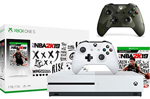 Microsoft Xbox One S 1TB NBA 2K19 Bundle + Armed Forces II (Special Edition) Wireless Controller | Include:Xbox One S 1TB Console ,NBA 2K19 Full-Game, Wireless Controller