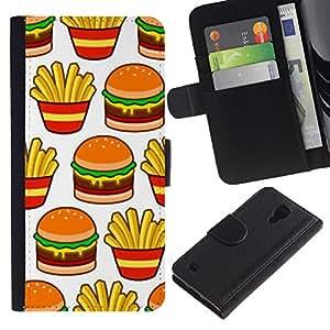 iBinBang / Flip Funda de Cuero Case Cover - Francés comida rápida de basura - Samsung Galaxy S4 IV I9500