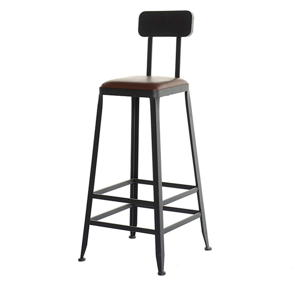 With seat cushions Square Iron Bar Chair Industrial Wind Back Bar Stool Simple Home Leisure High Stool Cafe Table and Chairs (color   with seat Cushions, Size   Square)