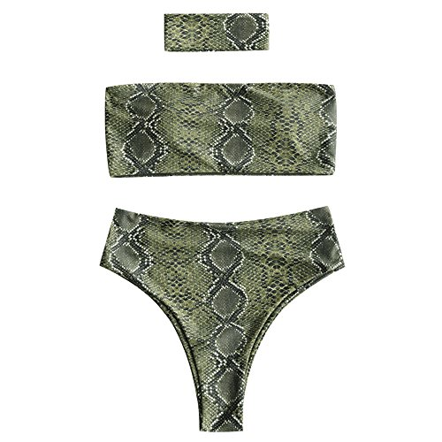 Print Top Snakeskin (CharMma Women's Strapless Snakeskin Print High Cut Bandeau Bikini Set with Choker (Green, XL))