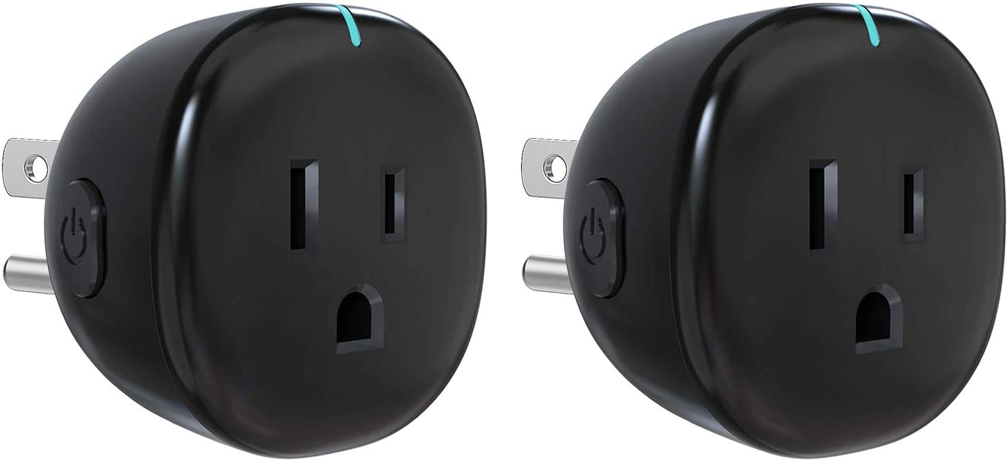 MoKo WiFi Smart Plug, [2 Pack] Mini WiFi Outlet Mini Socket Work with Alexa Echo, Google Home, SmartThings, APP Remote Control Timer Plug, 10A Only Supports 2.4GHz Network No Hub Required, Black