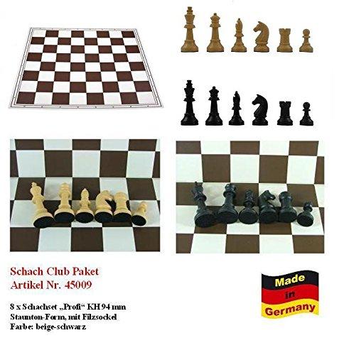 Schach Club Paket XXL Profi beige-schwarz mit Schachbrett, Schachfiguren KH 94 mm, Staunton Form