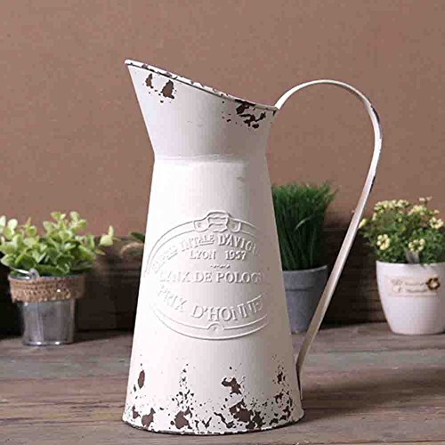 Watering Honey Elegant French Style Country Primitive Pitcher Flower Vase Watering Can Planters for Wedding Home Bar Decoration~White (Watering Pitcher)