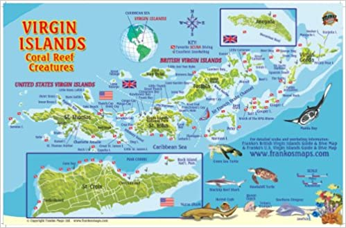 Virgin Islands Map Coral Reef Creatures Guide Franko Maps