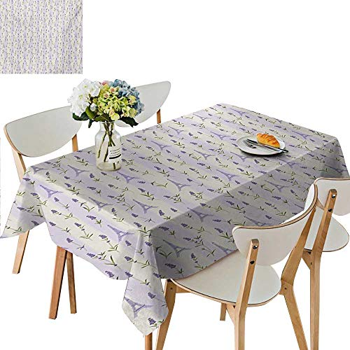 Oblong Tablecloth,Floral Arrangement with Lavender Flowers on Soft Stripes City Symbol Table Cloths for Parties red and Black Plastic,41W x 80.5L Inches Blue Black White ()