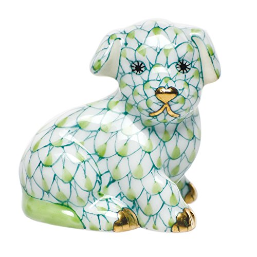 Herend Miniature Figurines (Herend Figurine Miniature Puppy Dog Key Lime Fishnet)