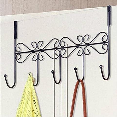 Over Door Iron 5 Hook Rack Clothes Coat Hat Bags Towel Hanger Holder (old bronze) - Bronze Oak Bird Feeder