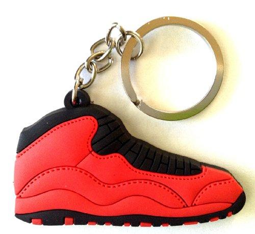 Jordan 10 Fusion - Air Jordan 10/X Fusion Fire Red/Black Sneakers Shoes Keychain Keyring AJ 23 Retro
