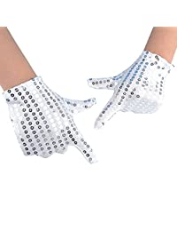 JISEN Child Costume Dress up Dance Sequin Cosplay Party Halloween Gloves Age 3-7