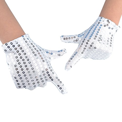 JISEN Child Costume Dress up Dance Sequin Cosplay Party Halloween Gloves Age 3-7 Silver ()