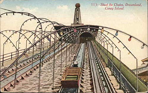 Island Coney Dreamland (Shoot the Chutes, Dreamland Coney Island, New York Original Vintage Postcard)