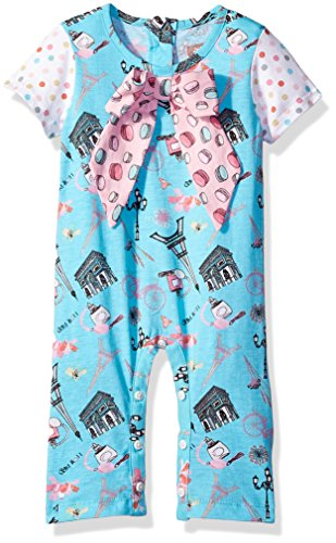 Jelly The Pug Baby Girls' Paris Nicole Romper, Multi, 9MO