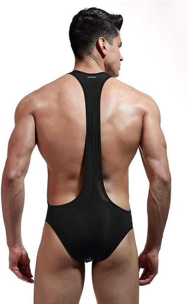 L-Black GLOGLOW Men Briefs Wrestling Singlet Bodysuit Suspenders Underwear Mens Wrestling Pants