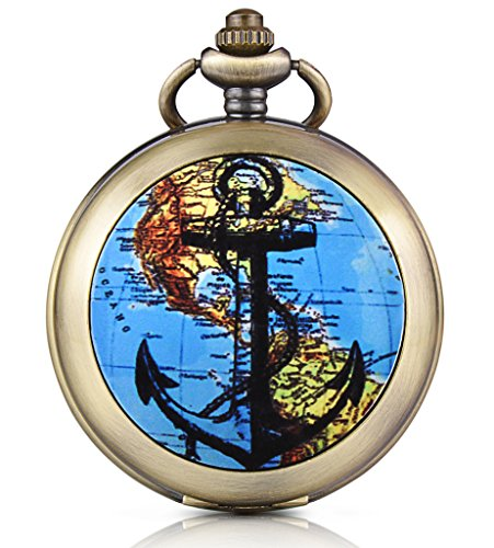 Infinite U World Map Anchor Skeleton Mechanical Pocket Watch Photo Locket Pendant Hand Wind Roman Numerals White Dial Fob/Long Chain Sweater Necklace