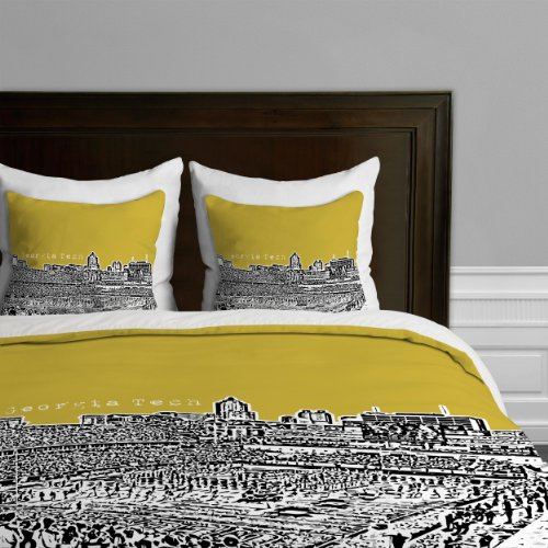 Georgia Tech Queen - Deny Designs Bird Ave Georgia Tech Yellow Duvet Cover, Twin/Twin XL