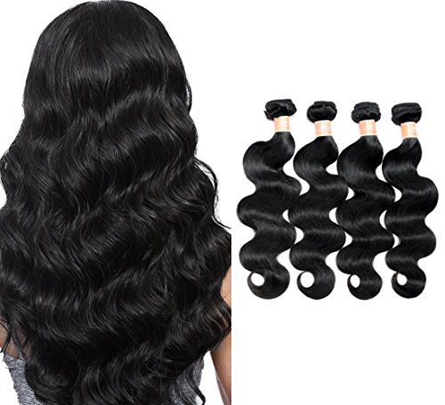7A Grade Brazilian Virgin Hair Body Wave 4 Bundles Unprocessed Human Hair Weave 400g/lot Natural Black Hair Extensions (16'' 18'' 20'' 22'') by HPH