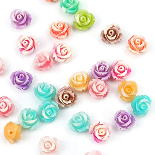 JETEHO 30 PC Flower Shaped Bead Flower Spacer Loose Beads for Making Toys Bracelets and Jewelry DIY, Assorted Color