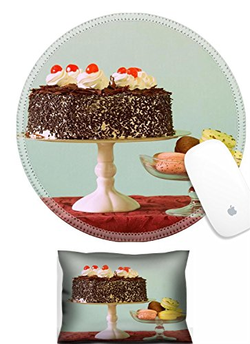 - Luxlady Mouse Wrist Rest and Round Mouse Wrist Set IMAGE: 25748895 Chocolate cake and almond macaroon cookies on the dessert table