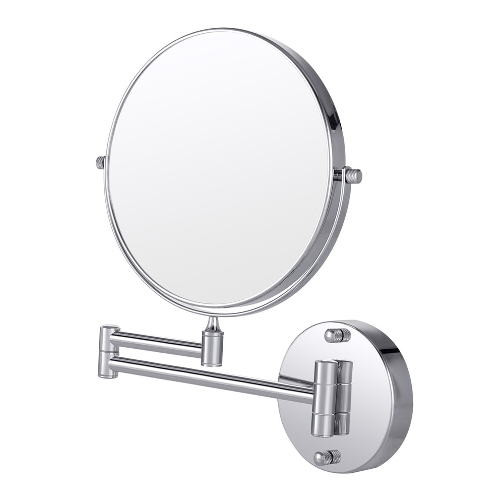 Cozzine Magnifying Wall Mirror, 10X/1X Magnification Double-sided 7.87 Inch Wall Mounted Vanity Magnifying Mirror Swivel, Extendable and Chrome Finished for Bathroom, Spa and Hotel.