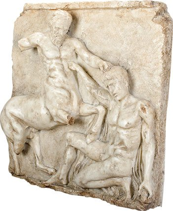 Ebros Gift Greek Metope Centaur & Lapith in Mortal Combat Wall Plaque Resin Figurine Collectible