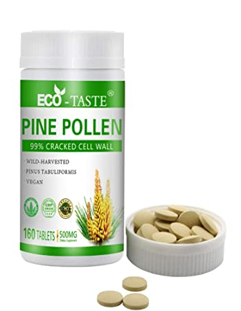 Pine Pollen Powder Tablets 160 Capsules 500mg, Wild-Harvested 99% Broken  Cell Wall for Optimal