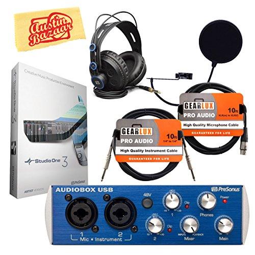 PreSonus AudioBox USB 2x2 Recording System Bundle with PreSonus HD7 Headphones, Studio One Software, Pop Filter, XLR Cable, Polishing Cloth