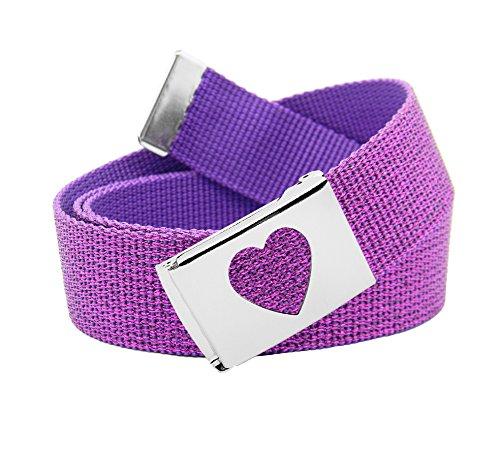 Girl's School Uniform Silver Flip Top Heart Belt Buckle with Canvas Web Belt Medium Glitter Purple