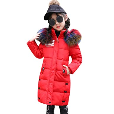 LSERVER Winter Mädchen Verdickung Farbe Pelzkragen Daunenjacke Lange Winterjacke