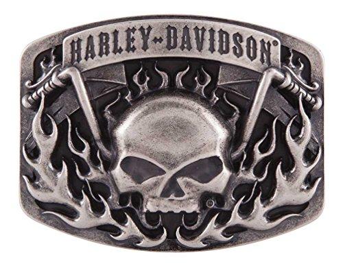 Harley-Davidson Men's Skull Bars & Flames Belt Buckle, Antique Nickel HDMBU11406 (Harley Belt Buckles)