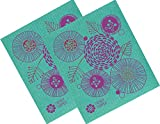 Trendy Tripper Swedish Dishcloth, Jenn Ski Mid-Century Modern Design - FLORAL (Red + Purple on Turquoise (2)