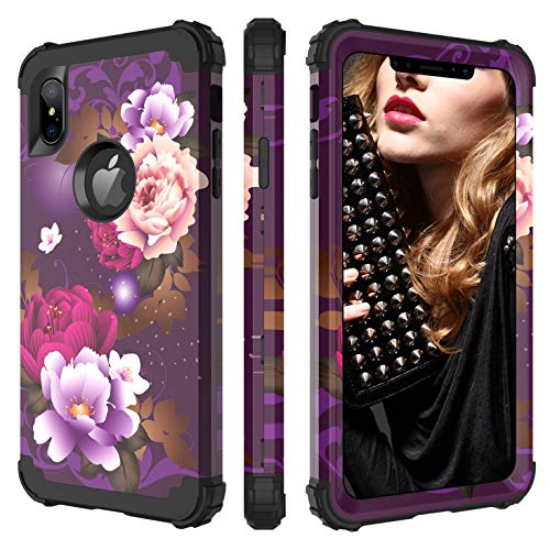 BENTOBEN iPhone Xs Max Case, Full Body Heavy Duty Shockproof Drop Protection 3 in 1 Hybrid Hard PC Soft Silicone Anti-Slip Protective Phone Cover for Apple iPhone Xs Max 6.5 2018, Purple Flower