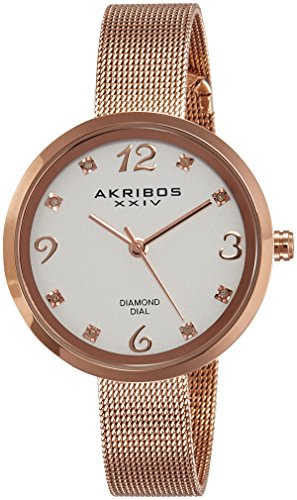 Akribos-XXIV-Womens-AK875RG-Mother-of-Pearl-Three-Hand-Watch-With-Rose-Gold-Tone-Bracelet