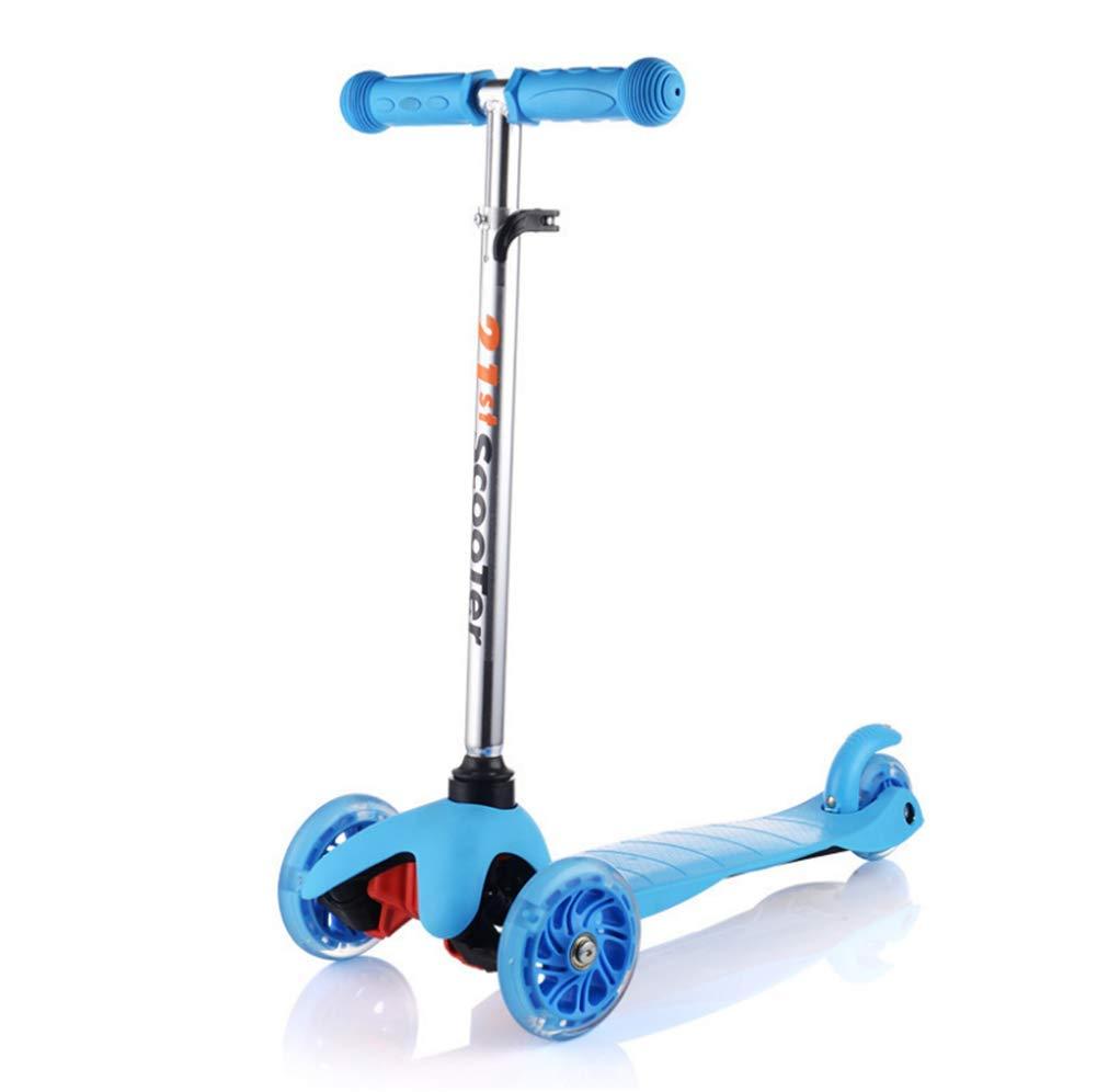 1-1 Kinder Scooter, Blinkenden LED Rollen Höhenverstellbar Verstellbarer Lenker Leicht Stunt Mädchen Junge-Geeignet Für 3+ Dreirad Roller,Blau