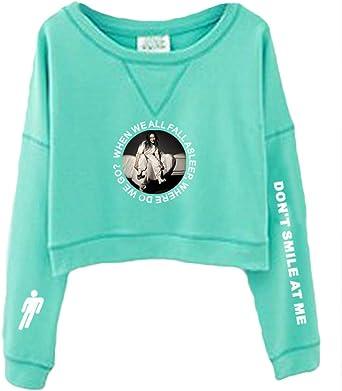 Sudadera Billie Eilish Niña, Sudadera Billie Eilish Sin Capucha Mujer Adolescente Chicas Camisetas de Manga Larga Impresión Deporte Casual Sudadera Cortita de Fans Suéter Jersey (1): Amazon.es: Ropa y accesorios