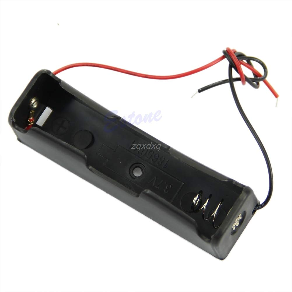 1 PC Plastic Battery Storage Case Box Holder for 1 x 18650 Black with 6'' Wire Leads Drop Ship Electronics Stocks
