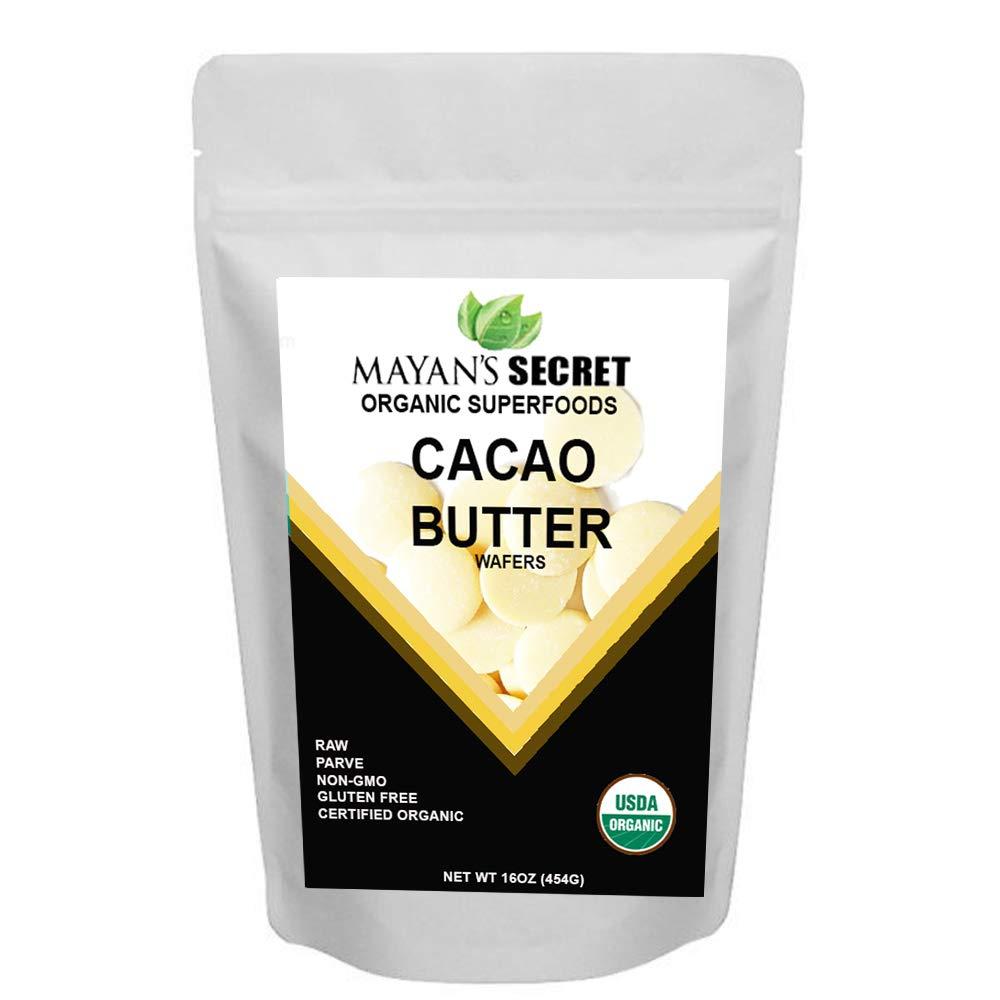Mayan's Secret UDSA Certified Organic Cacao Butter Wafers, 1lb Naturals Raw Unrefined, Non-Deodorized, Rich In Antioxidants Raw | Keto | Vegan