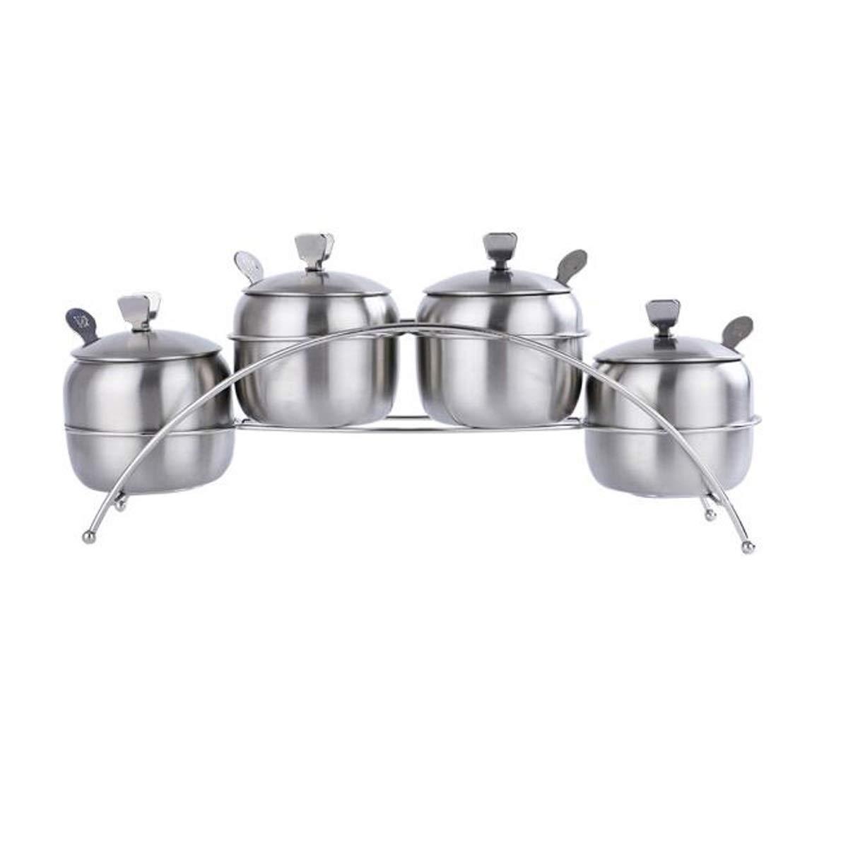 MINGRUIGONGMAO 304 stainless steel 4 grain seasoning jar Kitchen kitchen seasoning bottle Spice box Spice tank oil salt can (with spoon) Silver Plush toys (Color : Silver) by MINGRUIGONGMAO