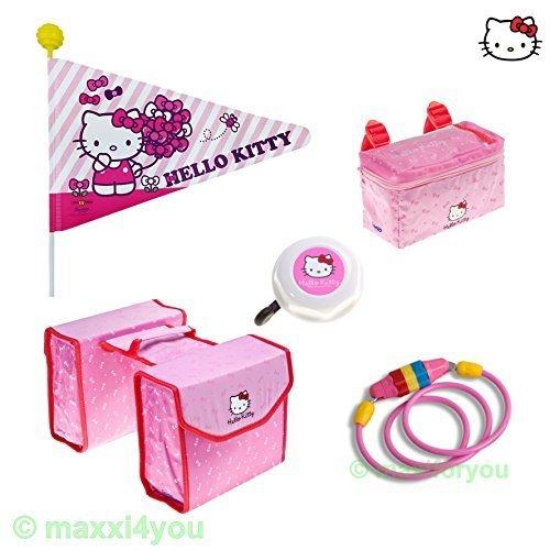 Kombiangebot Kinderfahrrad Wimpel, Taschen, Klingel + Kabelschloss - Hello Kitty - 01501002