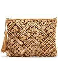 20ce81a3412 Clutch Purses for Women, Tassel Straw Handbag Vintage Handwoven Bag Summer  Beach Bag