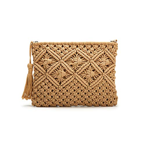 JOSEKO Clutch Purses for Women, Tassel Straw Handbag Vintage Handwoven Bag Summer Beach Bag Camel 11.02'' x - Clutch Woven Handbag