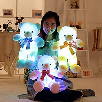 """20"""" Bow Tie LED Light Up Teddy Bear, Super Cute LED 7 Colors Changing Stuffed Plush Teddy Bear Baby Comforter Toys Birthday Gift/ Christmas Present/ Valentine's Day Gift (50cm, Blue)"""